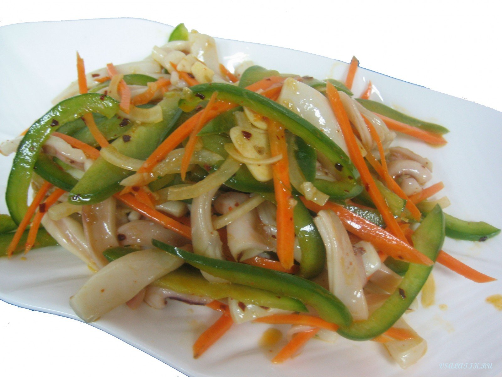 Салат с кальмарами свежим огурцом рецепт с